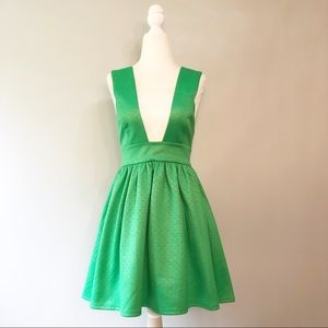 Nasty Gal Deep V Skater Mini Dress - Green